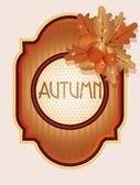 Scheda autunno vintage con ghiande e foglie di quercia, illustrazione vettoriale — Vettoriale Stock