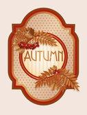 Vintage autumn card with rowan berry leaves, vector illustration — Stock Vector
