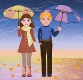 Linda niña y niño con paraguas, ilustración vectorial — Vector de stock