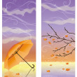 Autumn banners with umbrella, vector illustration — Stock Vector #51040395