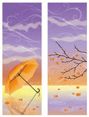 Autumn banners with umbrella, vector illustration — Vector de stock