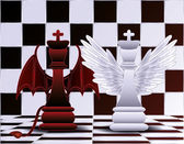 Chess King angel and devil  vector illustration — Stock Vector