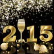 Happy 2015 New Year with champagne, vector illustration — Cтоковый вектор #51339155