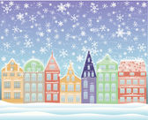 Winter city background, vector illustration — Stock Vector