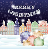 Happy Merry Christmas background with winter city and xmas balls, vector illustration — Stock Vector