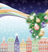 Happy Merry Christmas and New Year background, winter city. vector illustration — Stock Vector