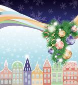Feliz feliz navidad y año nuevo fondo, ciudad de invierno. ilustración vectorial — Vector de stock