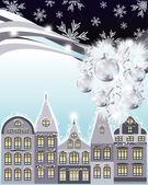 Happy Merry Christmas and New Year card, winter city. vector illustration — Vector de stock
