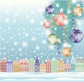 Winter Hintergrund Weihnachten Stadt. Vektor-illustration — Stockvektor