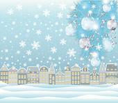 Merry Christmas winter card, vector illustration — Stock Vector