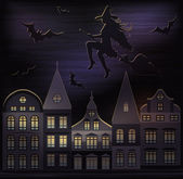 Happy halloween bakgrund, vektor illustration — Stockvektor
