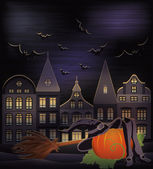 Happy halloween kort, vektor illustration — Stockvektor