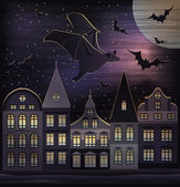 Happy Halloween night wallpaper, vector illustration — Stockvektor