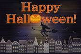 Happy Halloween postcard, vector illustration — Stockvektor