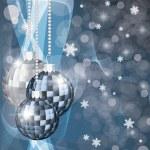 Winter banner with xmas blue balls, vector illustration — Stock Vector #7613005