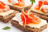 Caviar salmon sandwiches — Stock Photo