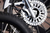 Motorcycle wheel breaks — Stock Photo