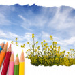 Color pencil drawing open blue sky landscape — Stock Photo #13580528