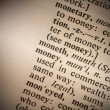 Closeup of the word money — Stock Photo