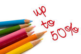Color pencil with 50 percent off special deal — Stock Photo