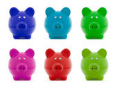 Piggy bank colorful set — Stock Photo