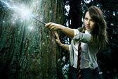 Wizard girl — Stock Photo