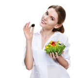 Buxom european woman & vegetable salad - isolated on white background — Stock Photo