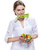 Killing european woman & vegetable salad - isolated on white background — Stock Photo