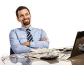 Hilarious businessman with arms crossed - isolated on white background — Stock Photo