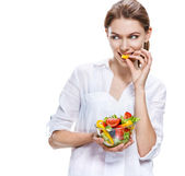 Flawless european woman & raw vegetable salad - isolated on white background — Stock Photo