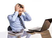 Business man in office with burnout syndrome at desk — Stock Photo