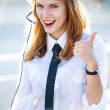 Busy Call Center Operator Girl shows It's OK! — Stock Photo