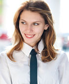 Corporate culture models (Young businesswoman of the year) — Stock Photo