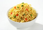Bowl with cooked noodles — Stock Photo