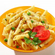 Delicious cooked tubular pasta dish — Stock Photo