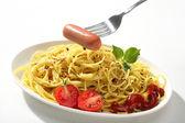 Noodles & sausage — Stock Photo