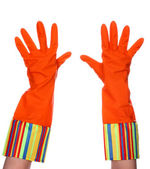Rubber dishwashing gloves — Stock Photo
