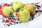 Apples on the tablecloth-embroidery — Stock Photo
