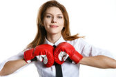 Brunette european woman is ready to kick ass — Stock Photo