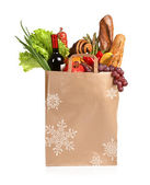 A paper bag full of groceries — Stock Photo