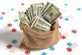 Bag full of money — Stock Photo
