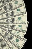 Money fan with hundred dollar bills — Stock Photo