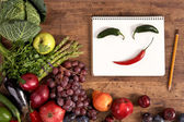 Face made of peppers — Stockfoto