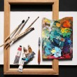 Painting set - brushes, paints, frame, blank canvas — Stock Photo