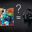 Art paints or digital camera? — Stock Photo