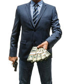 Gangster is taking money — Stock Photo