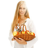 Darling woman with ripe apples — Stockfoto