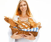 Hilarious woman with bread and rolls — Stok fotoğraf