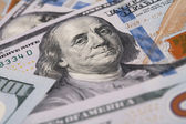 Closeup of Benjamin Franklin on One Hundred Dollar Bill — Stock Photo