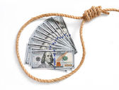 Paper money fan in a noose — Stock Photo
